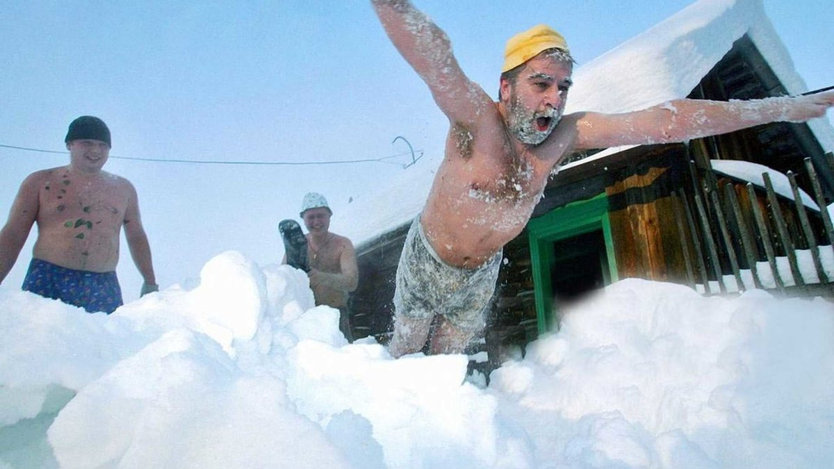 Польза и вред прыжков в снег после бани   брус бани