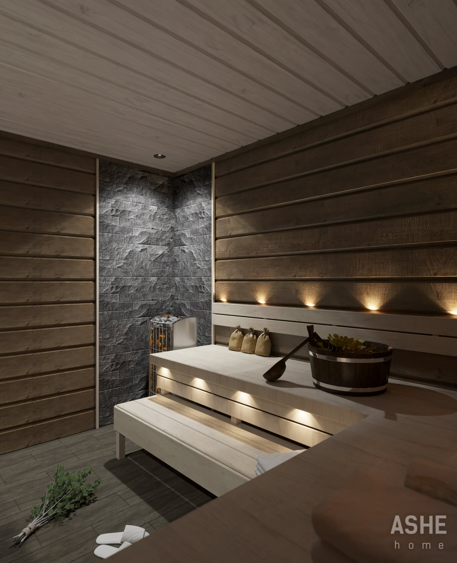 Дизайн интерьера в комнате отдыха в бане