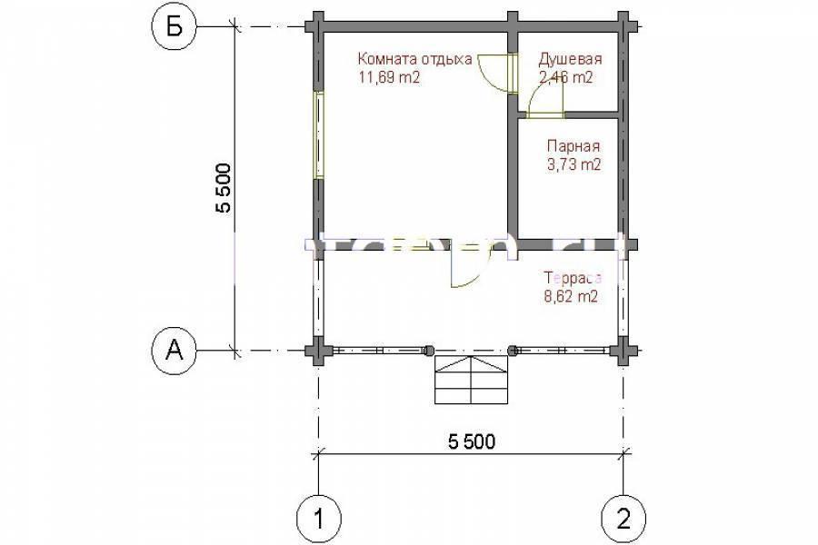 Проекты бань с комнатой отдыха, террасой, кухней и туалетом