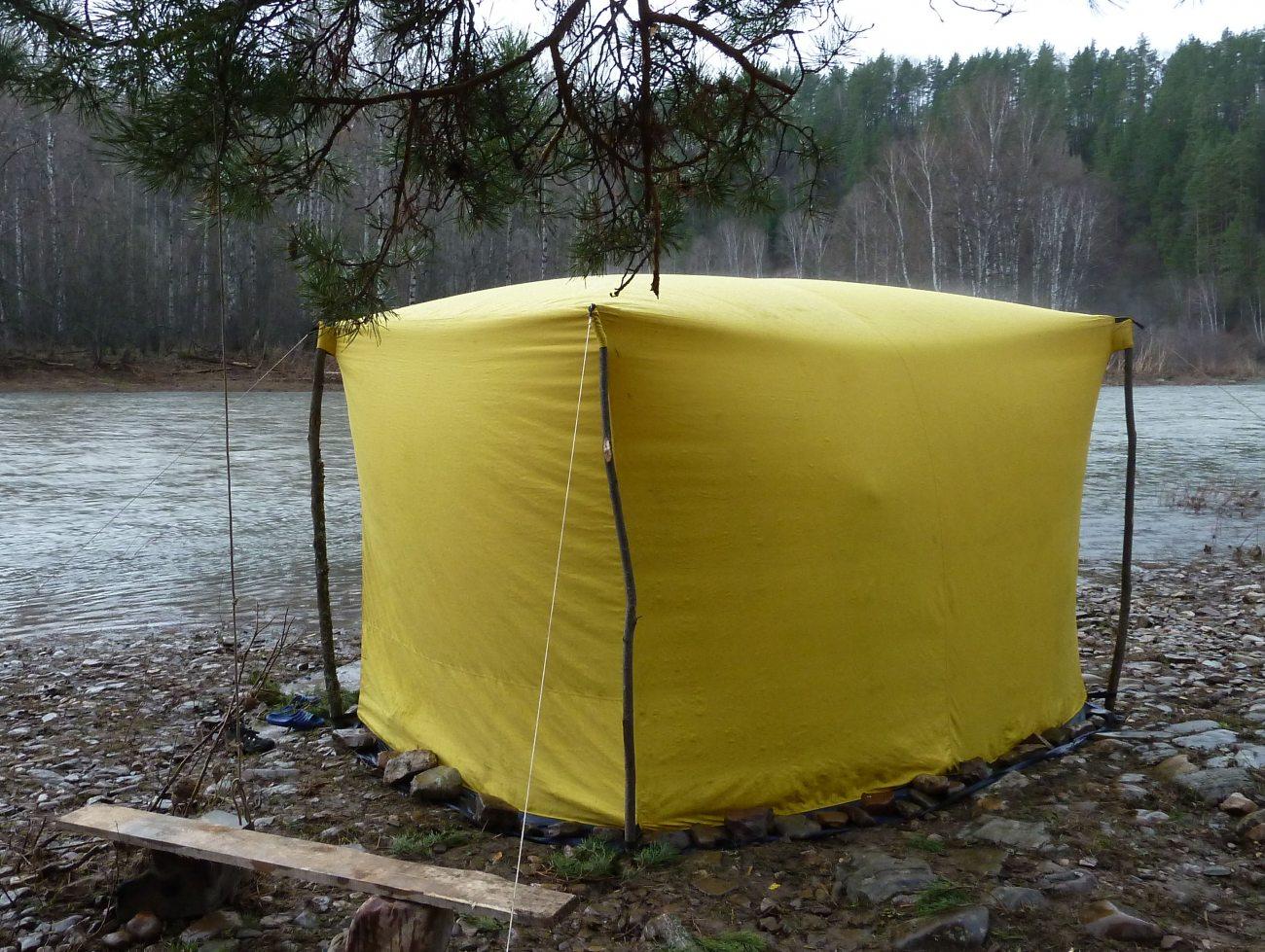 Походная баня - делаем своими руками из палатки и полиэтилена: видео, фото, выкройки и чертежи