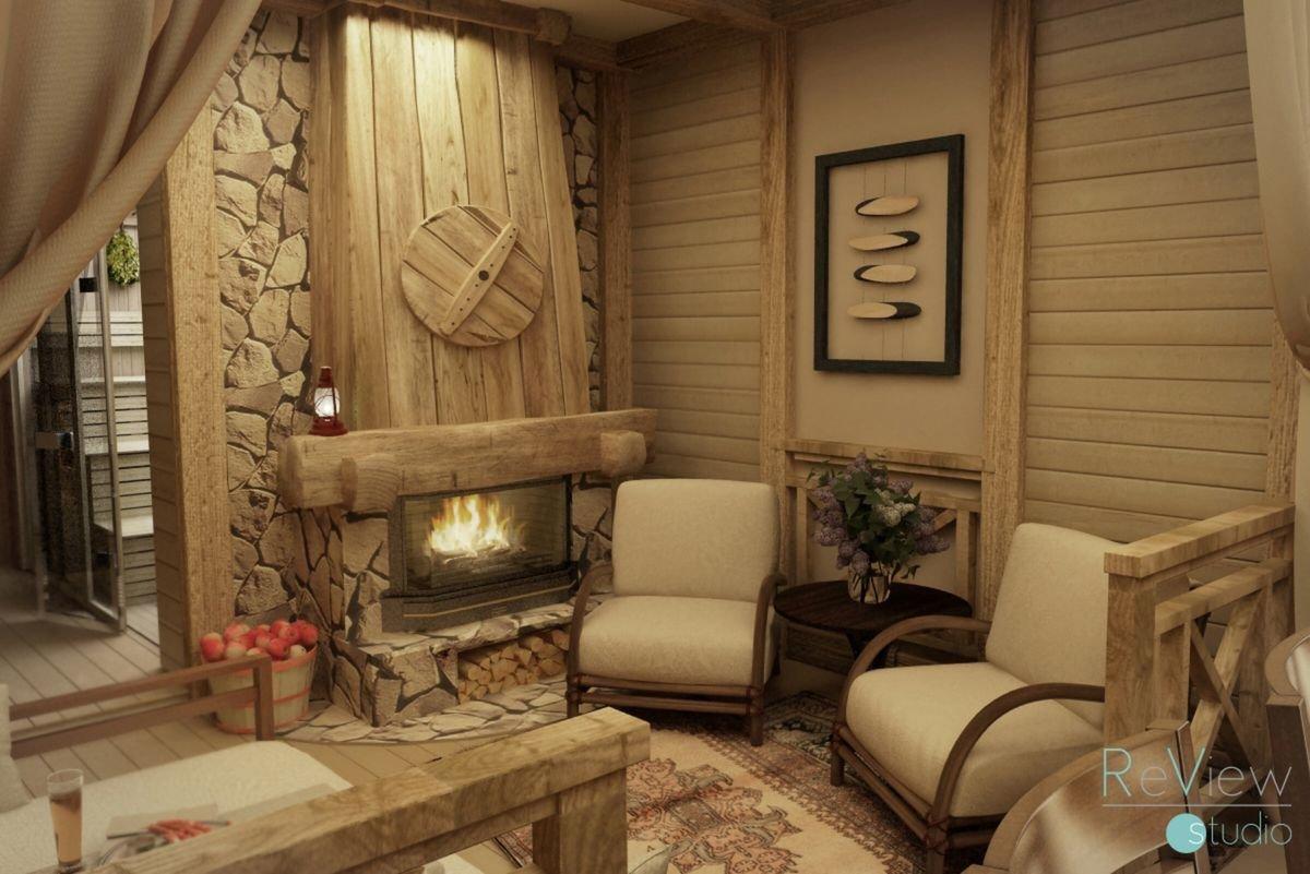Внутренний интерьер бани, отделка бани внутри, интерьер бани