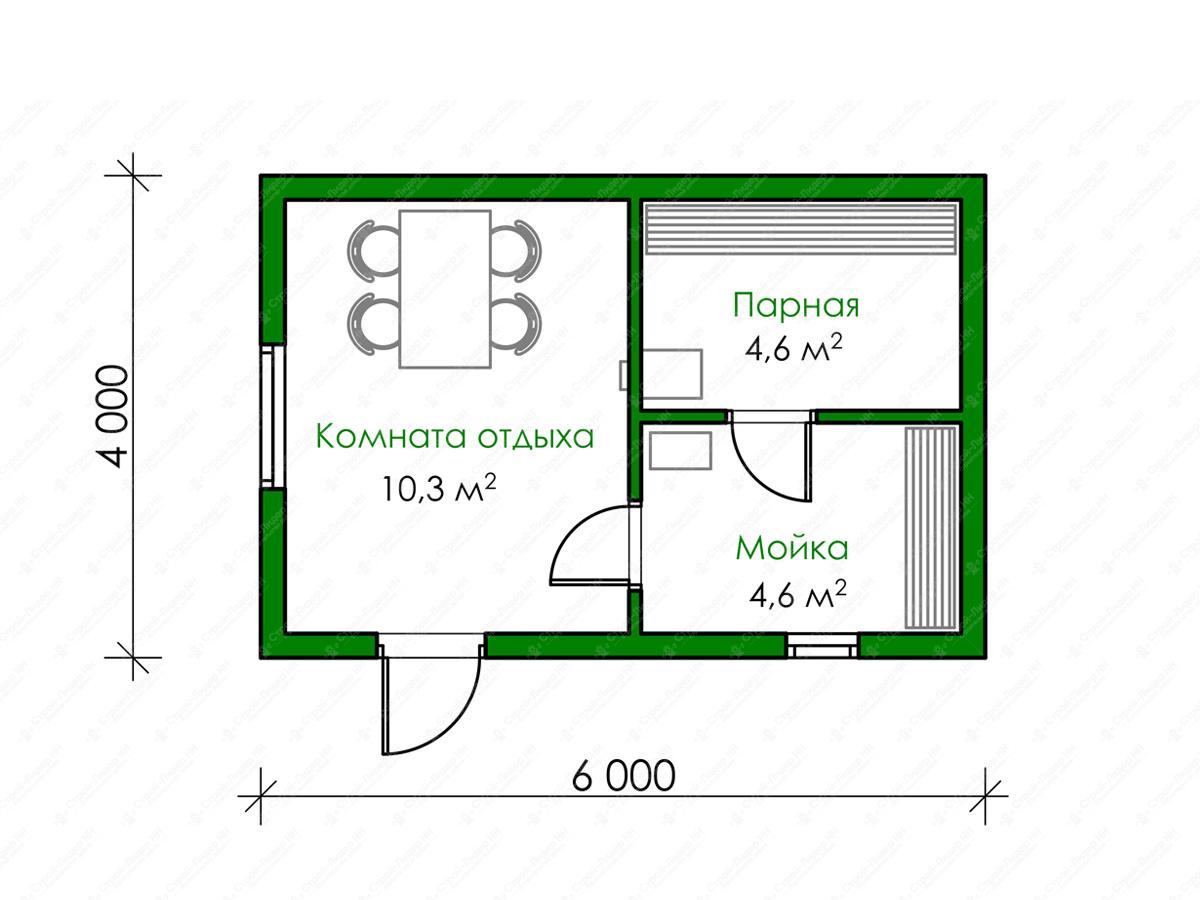 Баня размером 4х4: планировка (22 фото) мойка и парилка отдельно на 4 человек, план конструкции из бревна