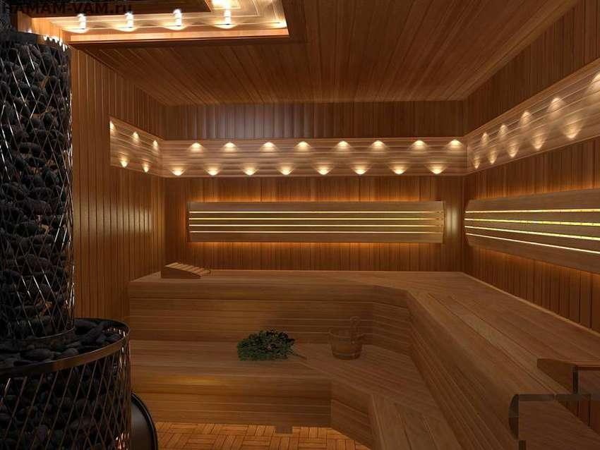 Какое должно быть освещение в бане?