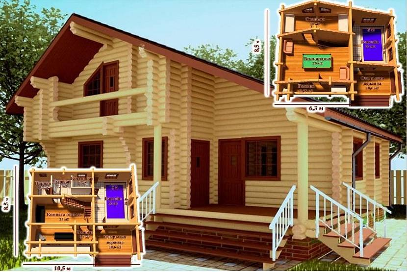 Двухэтажная баня: выбираем проекты для строительства своими руками