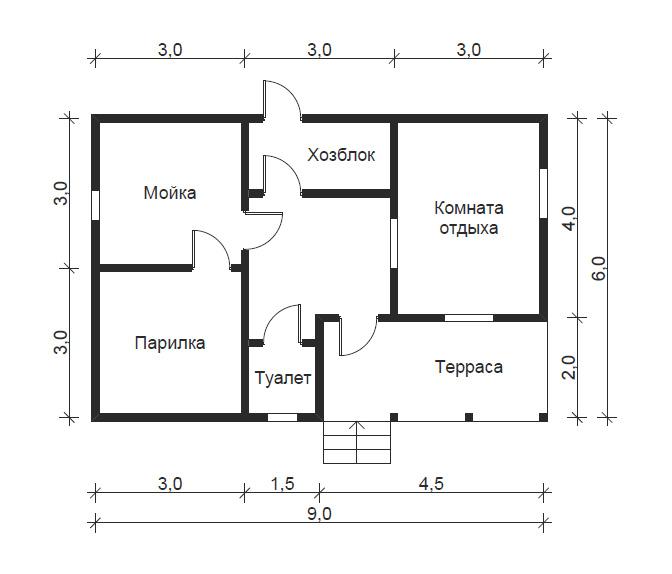 Проект бани с комнатой отдыха - примеры удачных решений