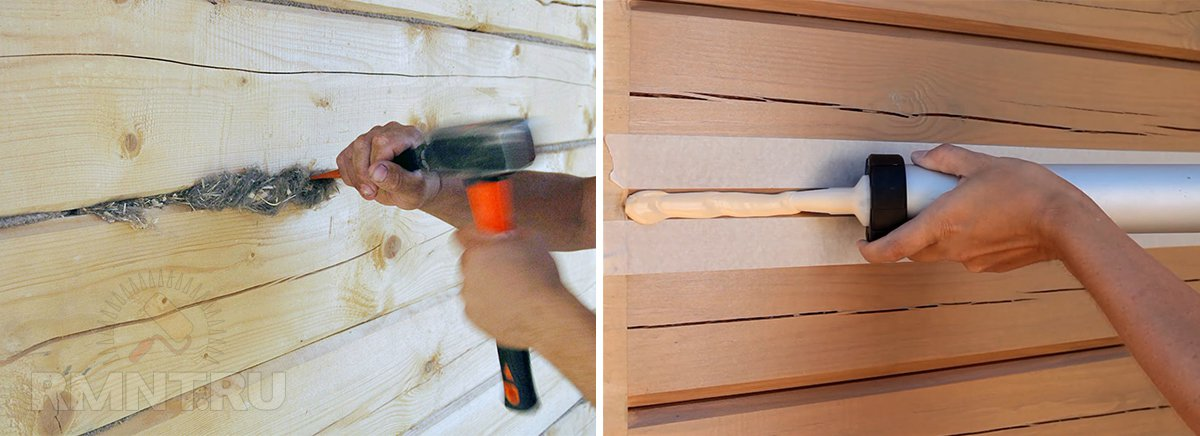 Чем заделать трещины в бревнах сруба – выбираем эффективный способ
