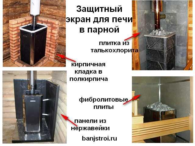 Защитный экран для печи в парной: ограждение, плитка под печь в бане с моечной и парилкой