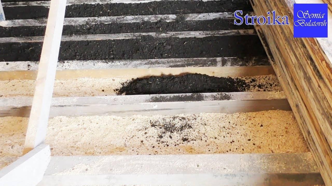 Эффективное утепление потолка бани опилками с глиной и цементом, а также пола и стен