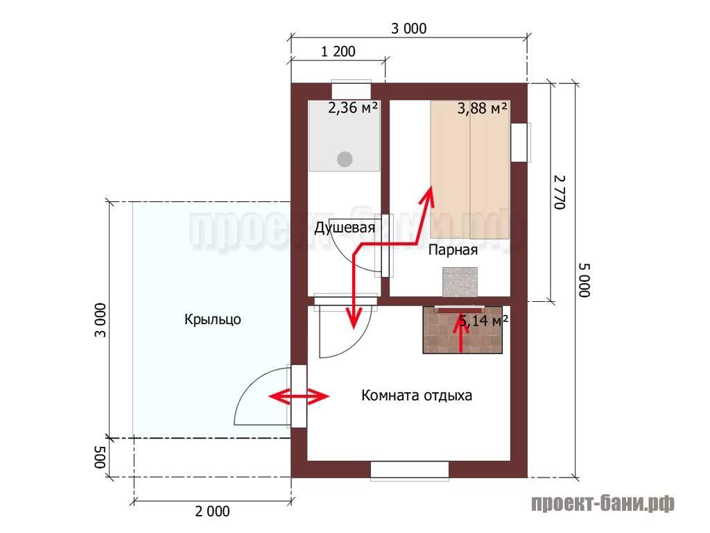 Баня 3 на 5: планировка внутри, фото, проект бани 3х5