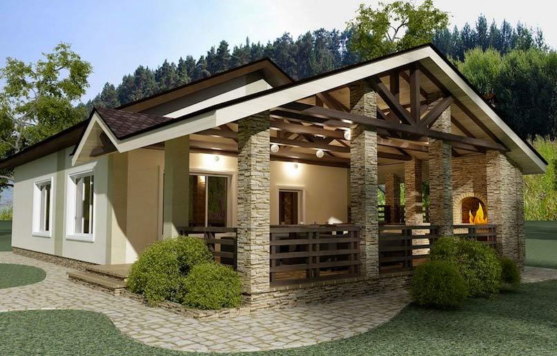 Баня с верандой под одной крышей — красивые проекты
