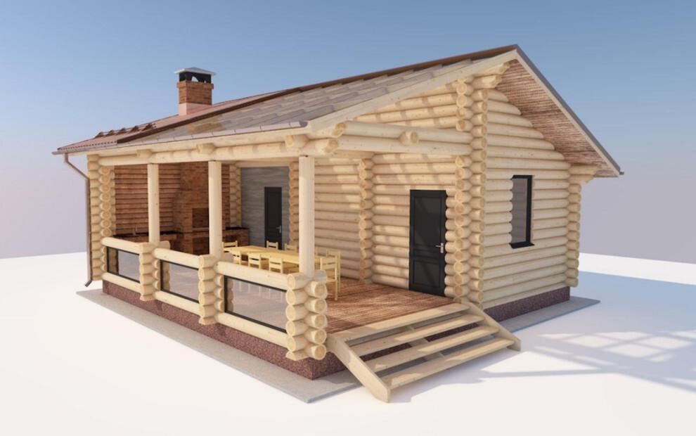 Проект бани с террасой и барбекю — фото вариантов постройки