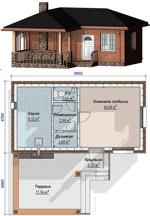 Бани из пеноблока: проект двухэтажной жилой бани с бассейном своими руками, баня с террасой и комнатой отдыха