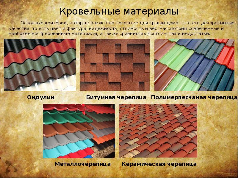 Какие бывают кровельные материалы для крыши: выясняем их виды и свойства