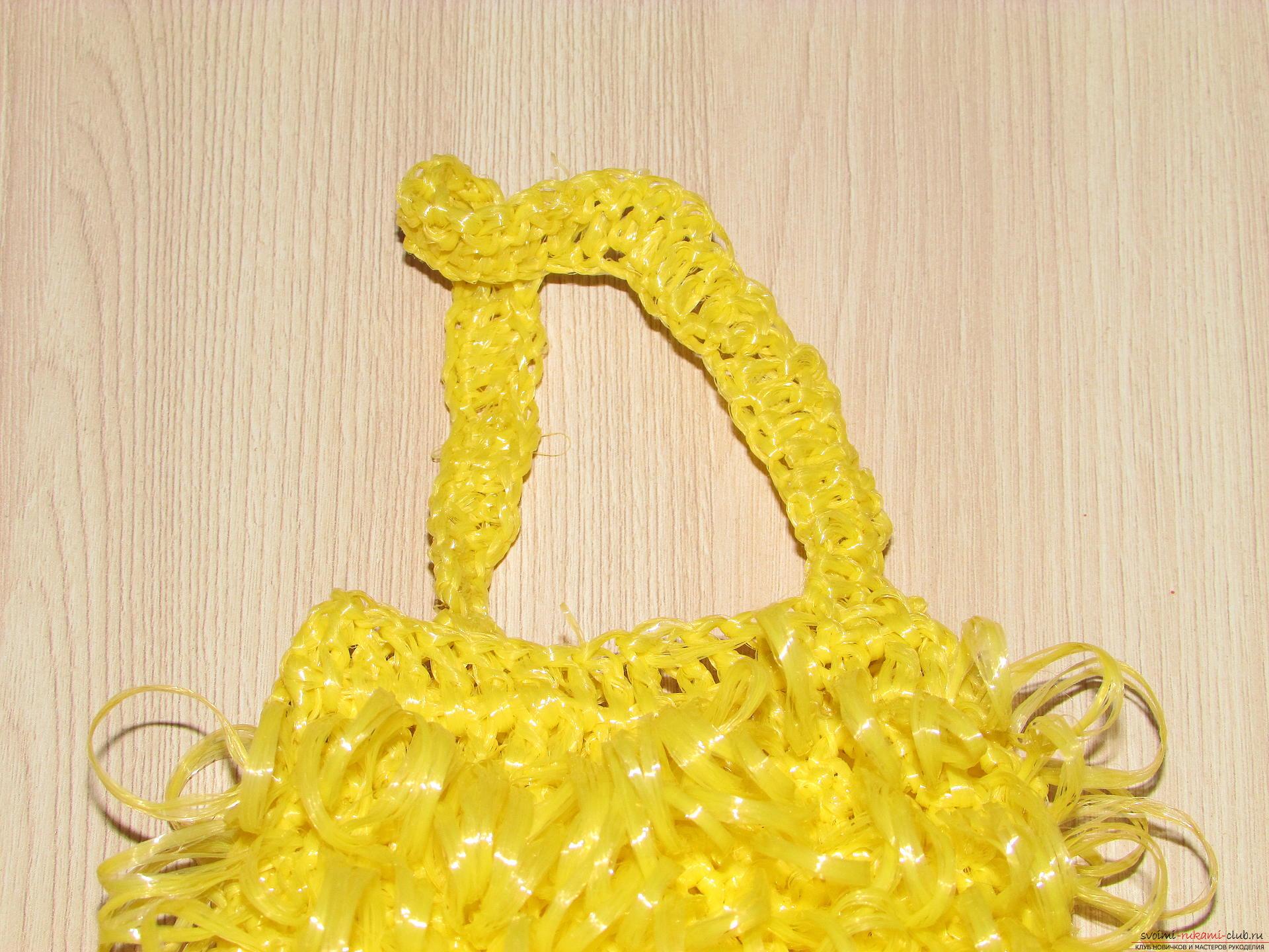 Вязание мочалки крючком с вытянутыми петлями