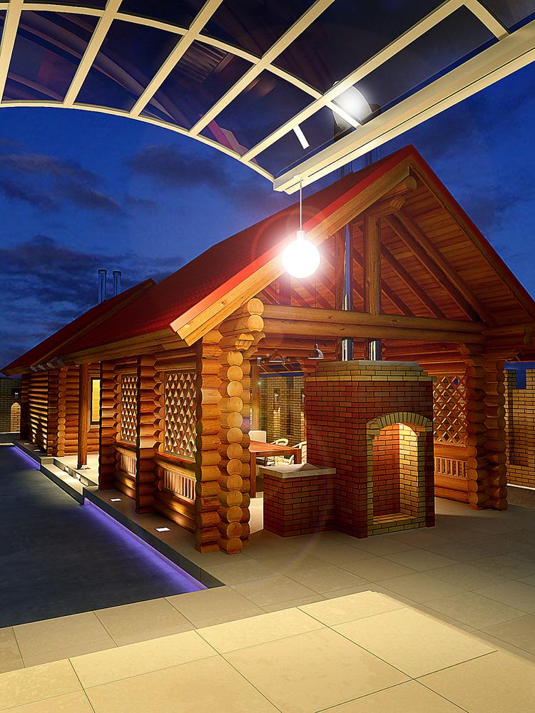 Проекты бань с беседками и барбекю под одной крышей +75 фото