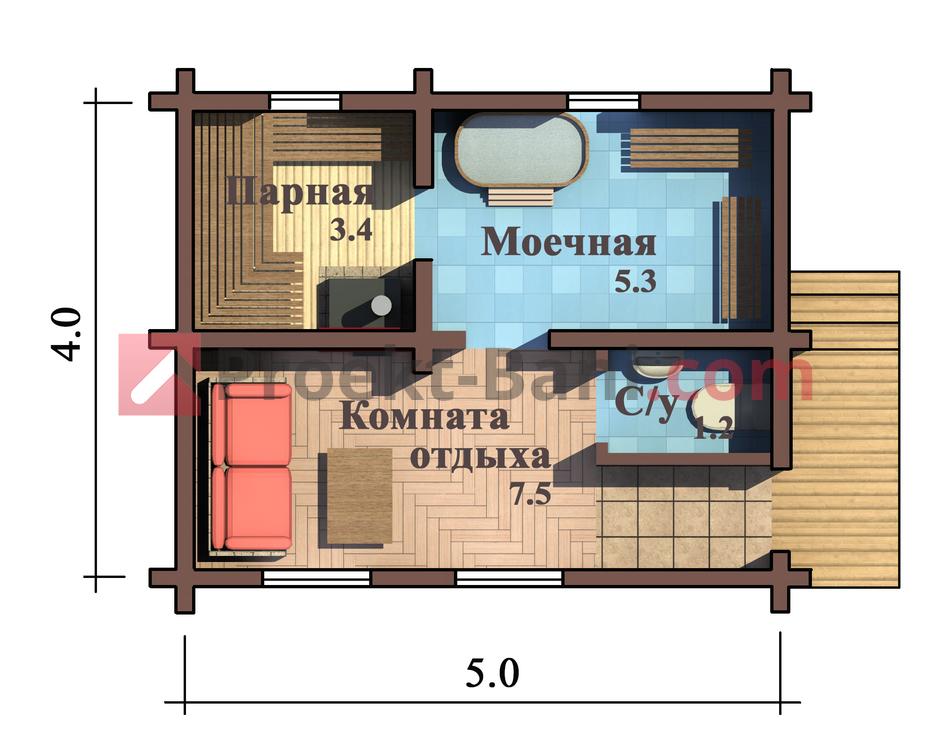 План бани 4х5 мойка и парилка отдельно