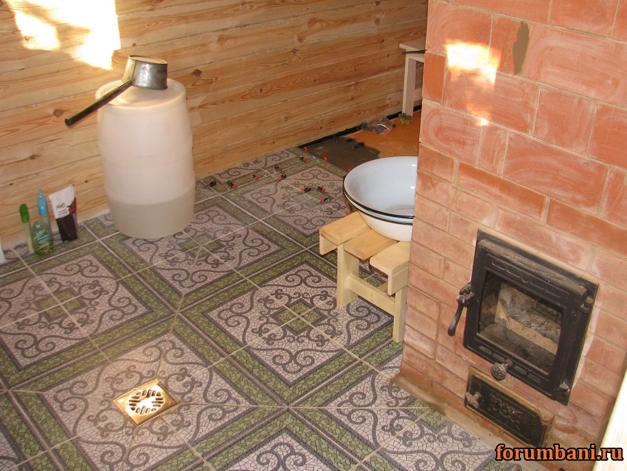 Теплый пол в бане от печки