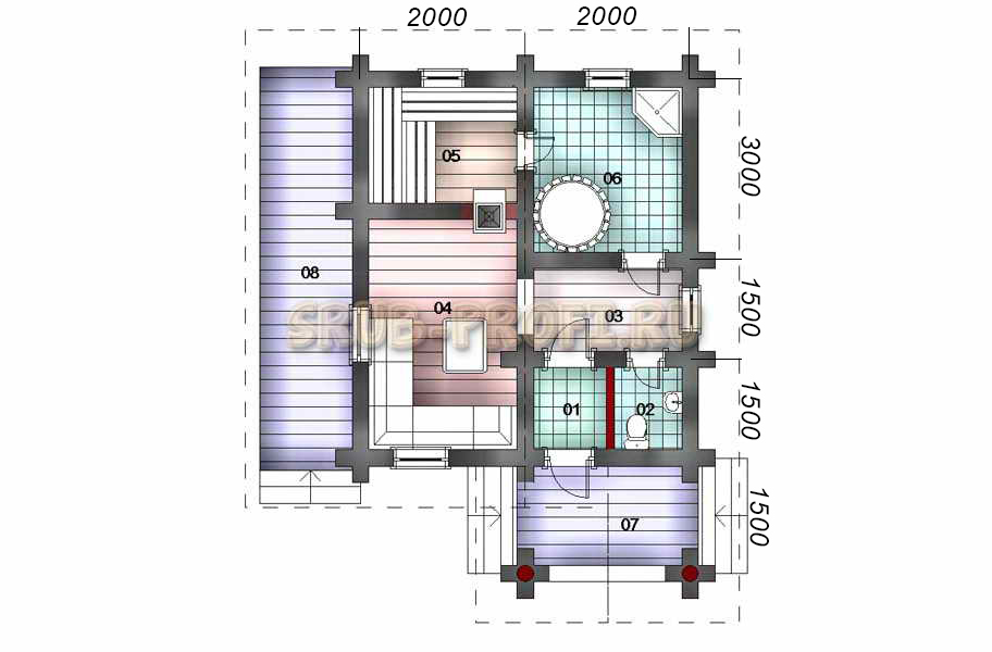 Проекты бань с комнатой отдыха (75 фото): строения с террасой, туалетом и бассейном, варианты с купелью и мансардой из кирпича