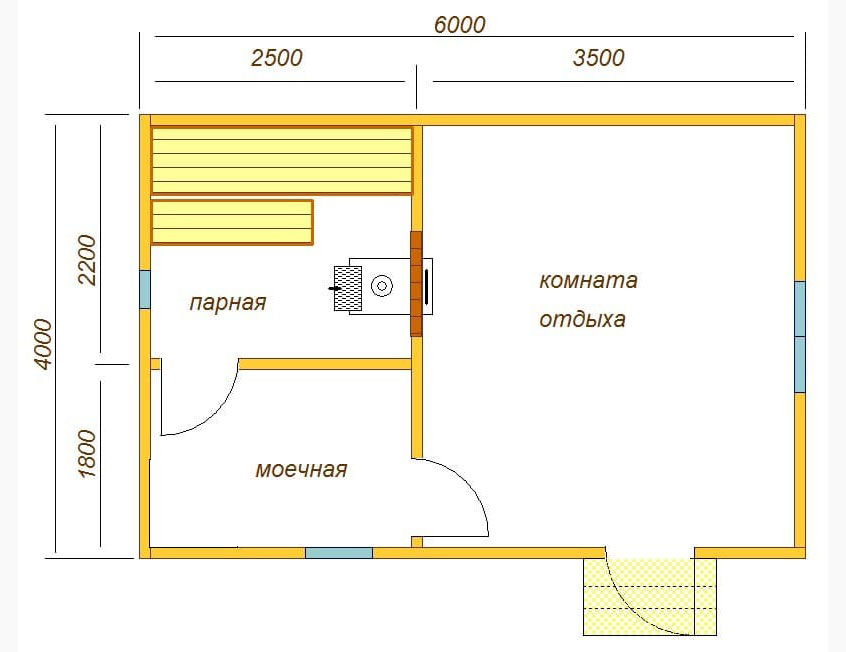 Проект бани 6х6 м (56 фото): планировка двухэтажного дома с террасой, план конструкции с туалетом и кухней из сруба