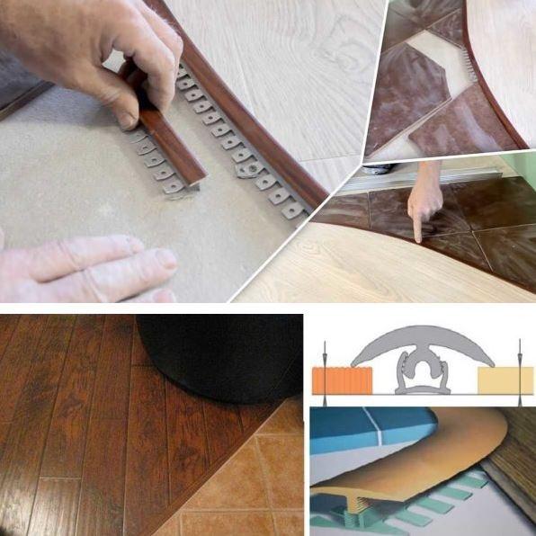 Порожек между плиткой и ламинатом: процесс установки