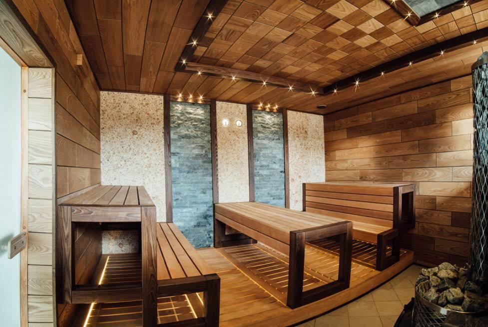 Внутреннее обустройство и отделка бани
