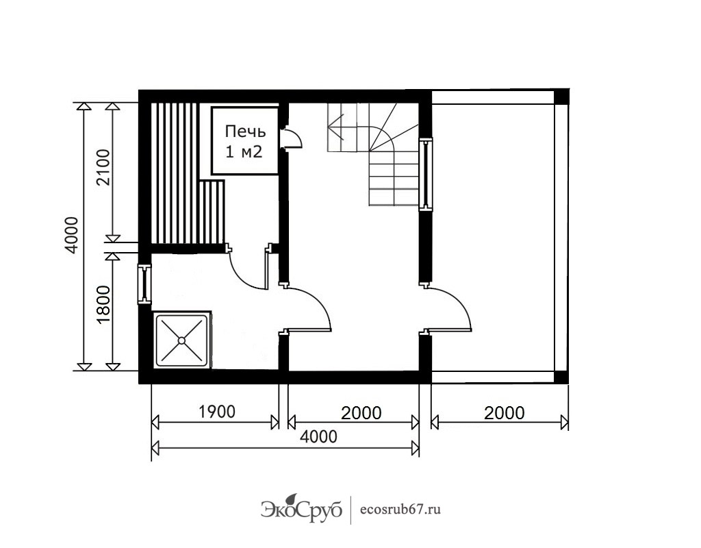 Планы бани 4х5, 3х4, 4х6 и другие: мойка и парилка отдельно и вместе, фото планировки раздельных и объединенных парных и моечных отделений