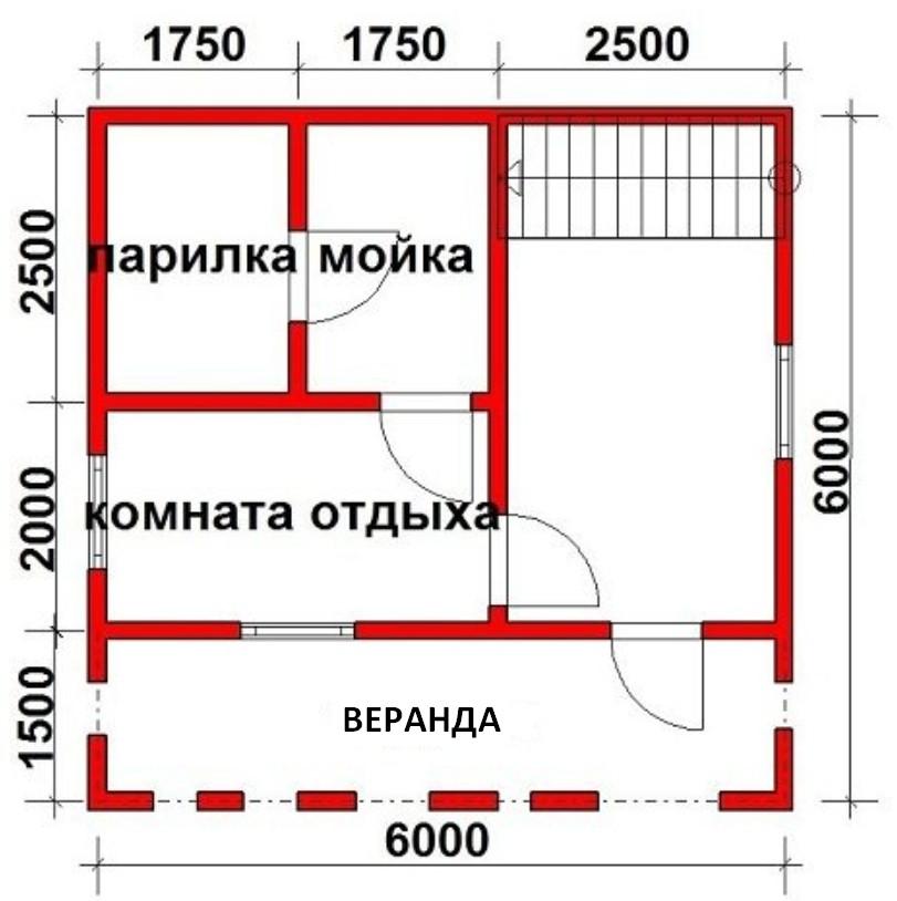 Планы бани 3х3: мойка и парилка отдельно и вместе, фото планировки