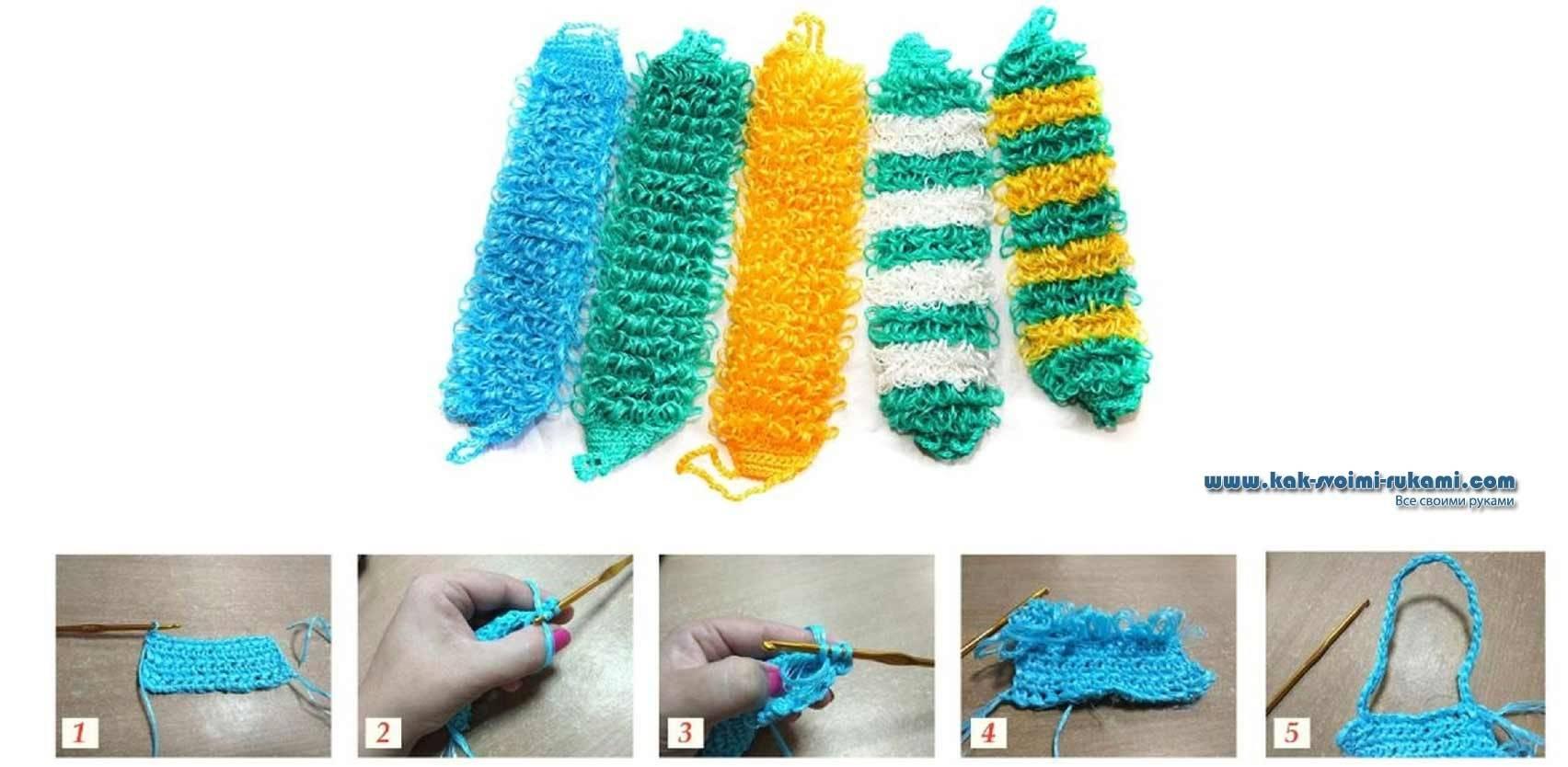 Вязание мочалки для бани своими руками