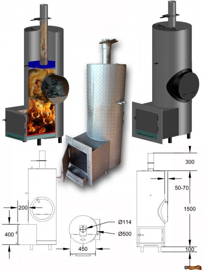 Как сделать печь для бани: металлическая банная печь своими руками, печка из металла, чертежи, как сделать из железа, как построить, размеры железных банных печей, фото и видео