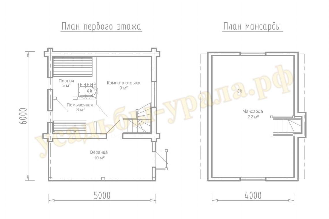 Дом баня 6 на 6 с мансардой: планировка двухэтажного и одноэтажного проекта, гостевая постройка из бруса по каркасной технологии