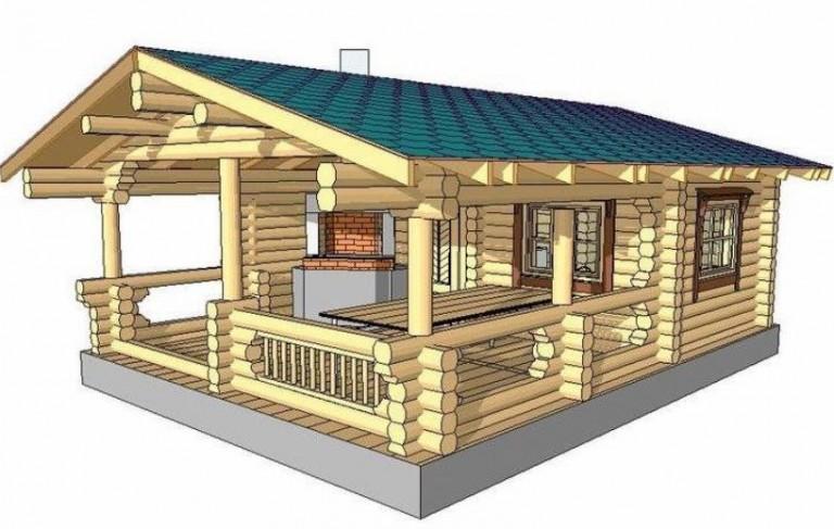 Проекты бань с беседками под одной крышей