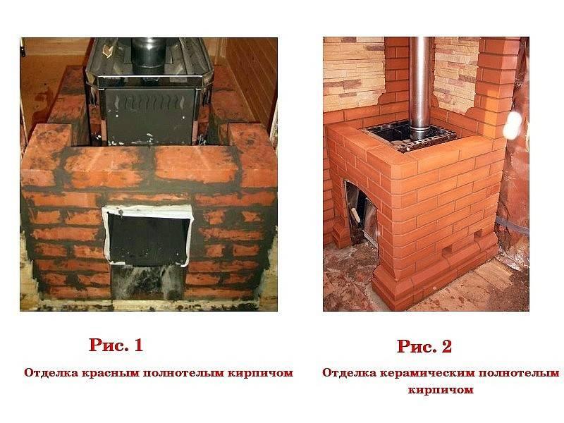 Как обложить кирпичом железную печь в бане