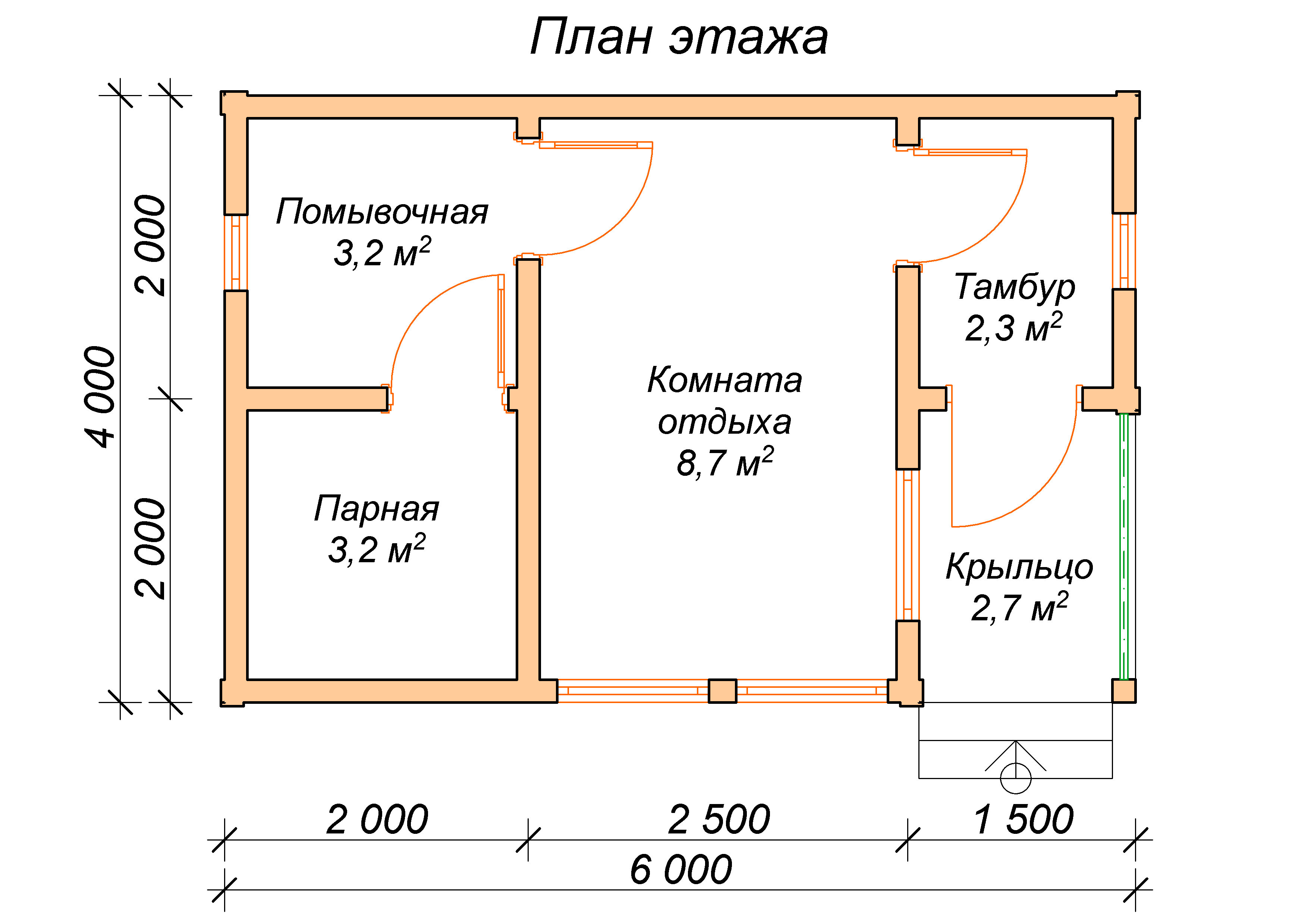 Баня 6х4 с террасой - проект и пошаговая инструкция!