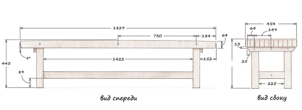 Скамейка садовая со спинкой из дерева своими руками: чертежи