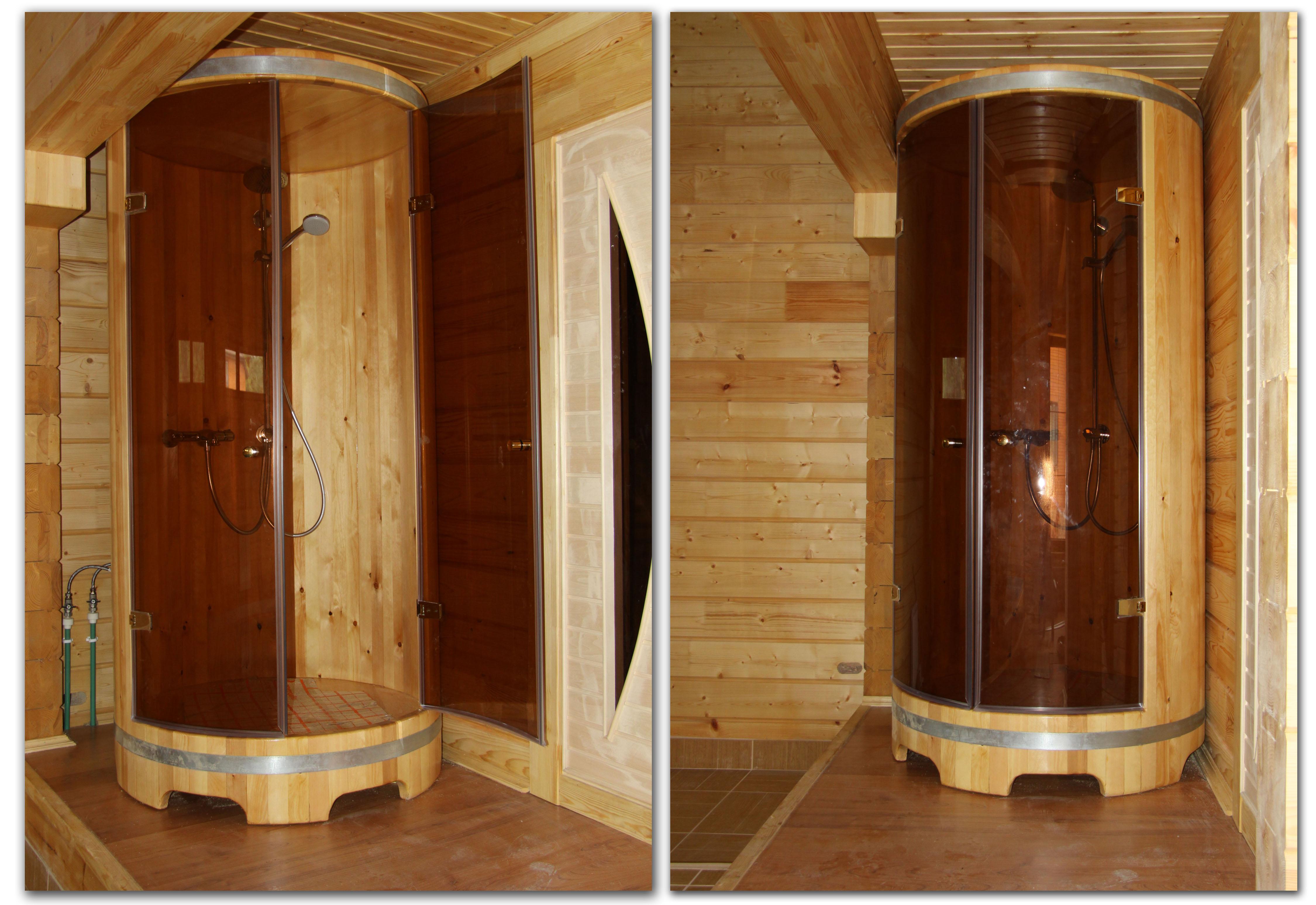 Душевая кабина в бане, деревянная для моечной, из дерева лиственницы