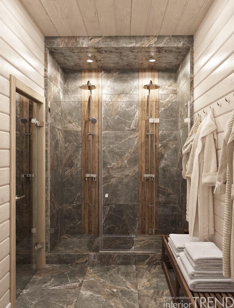 Варианты дизайна душевой в бане