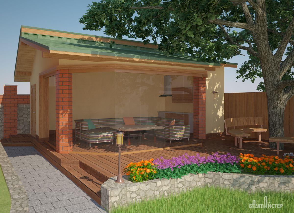 Баня с сараем под одной крышей, а также с барбекю, летней кухней, бассейном - описание, фото и видеоролики