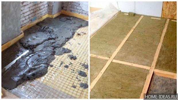 Бетонный пол по грунту, своими руками в частном доме: как залить, выставить маяки,  черновая стяжка, гидроизоляция,