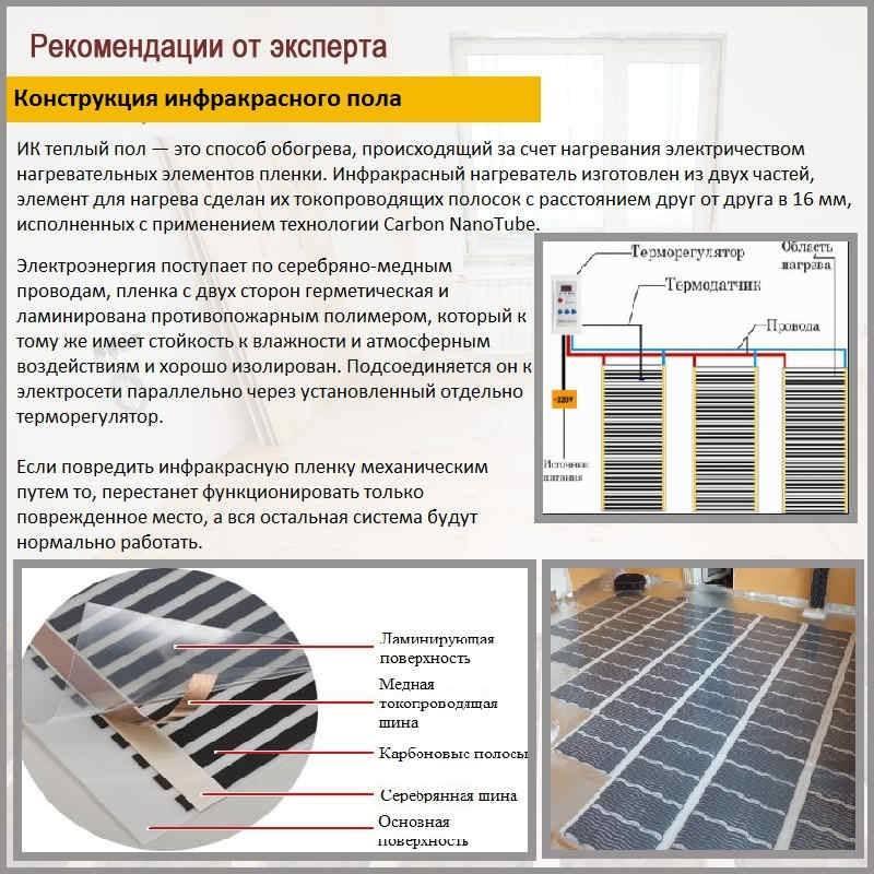 Инфракрасный пленочный теплый пол как основное отопление: плюсы и минусы