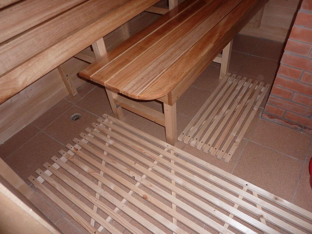 Полы в моечной в деревянной бане