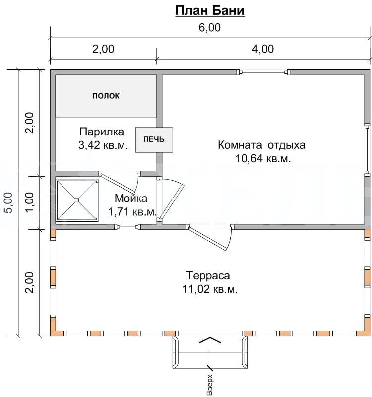Комфортный проект: баня с комнатой отдыха