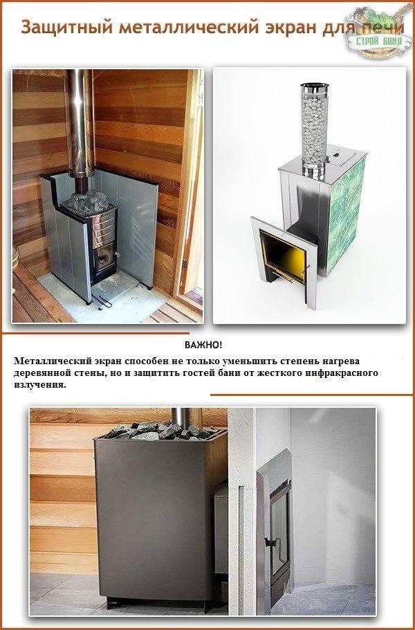 Защитный экран для печи в бане своими руками из кирпича: фронтальный кирпичный жаростойкий вокруг металлической топки банной печки