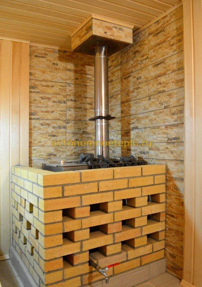 Обкладываем металлическую печь кирпичом в бане, 7 секретов успешной работы