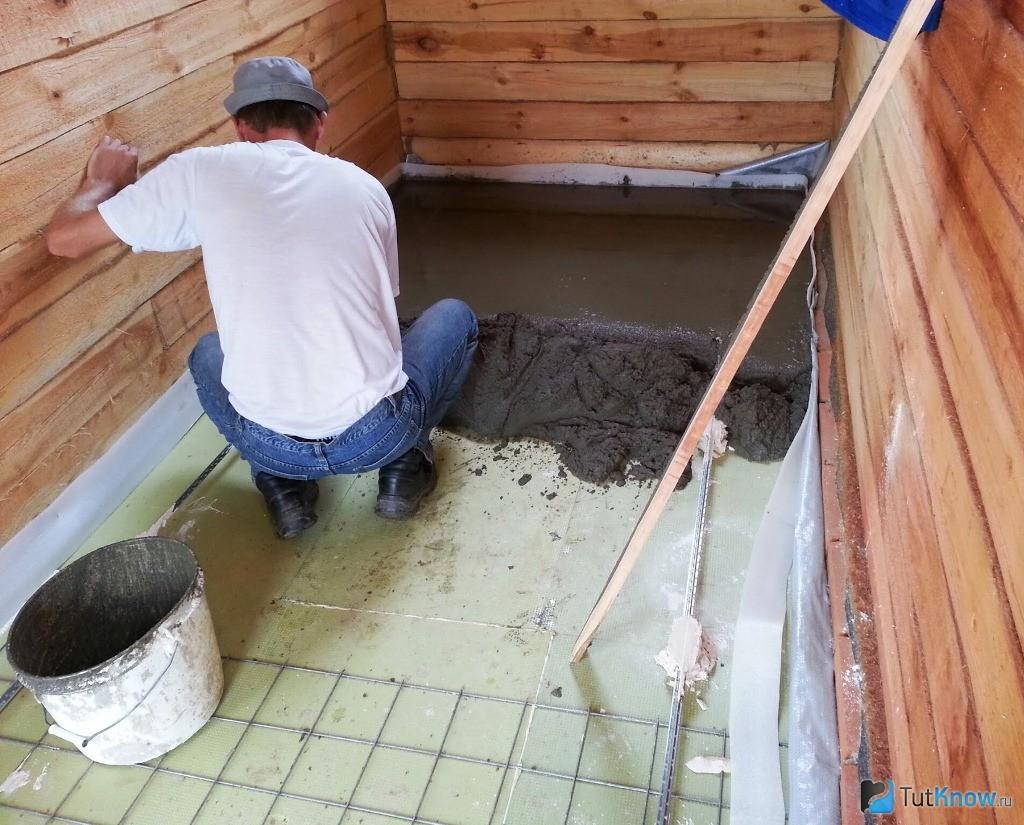 Стяжка в бане своими руками с уклоном пола и под плитку