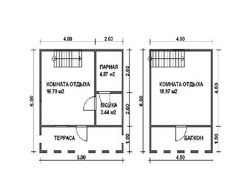 Баня 6 на 6 из бруса с мансардой: проекты, особенности постройки и фото | построить баню ру