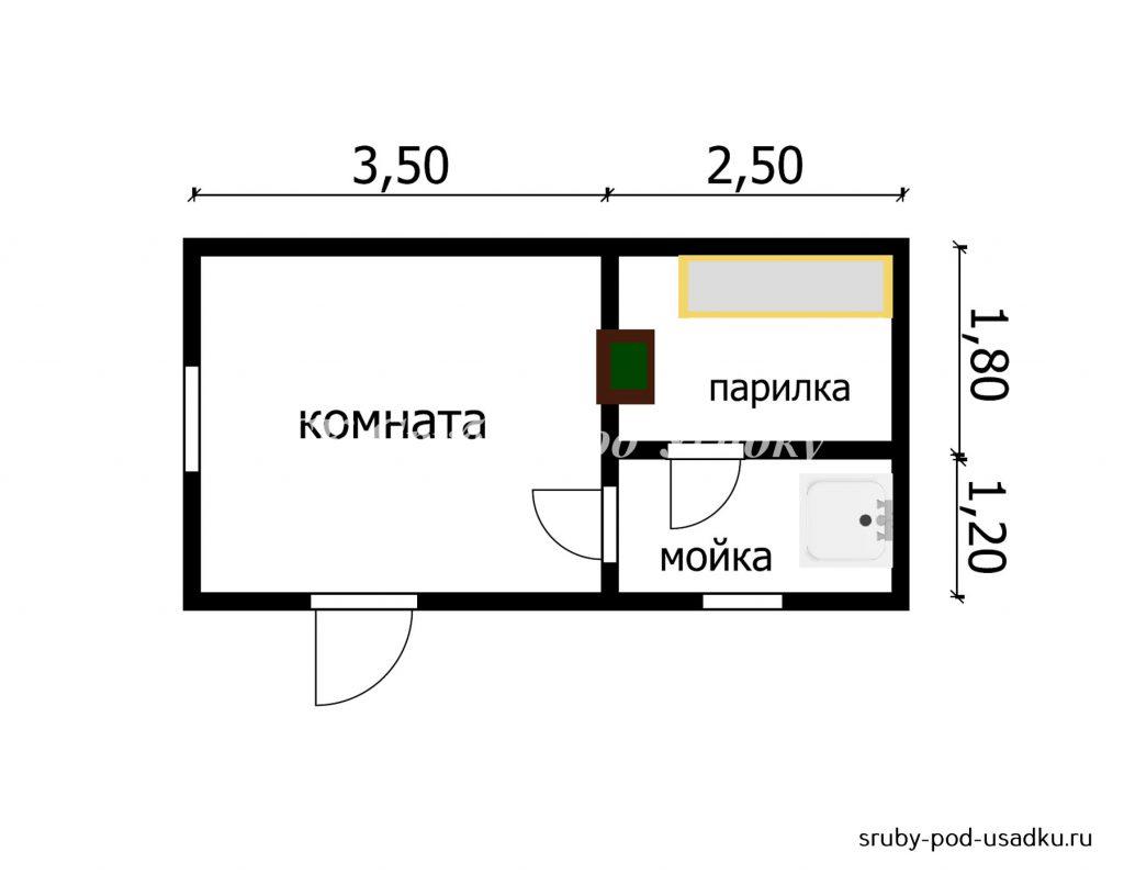 Планировка бани 3х6 мойка и парилка отдельно