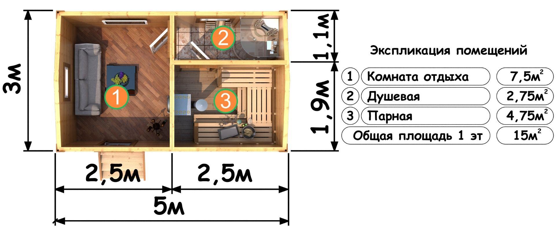 Планировка бани размером 3х5 м