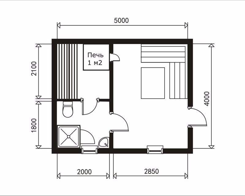 Планировка бани 4х4 м, план и проект внутренних помещений