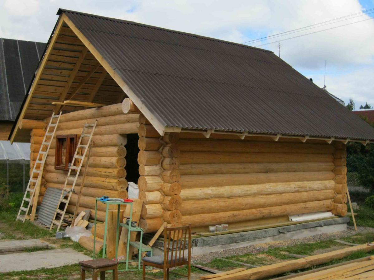 Строительство русской бани из бревна