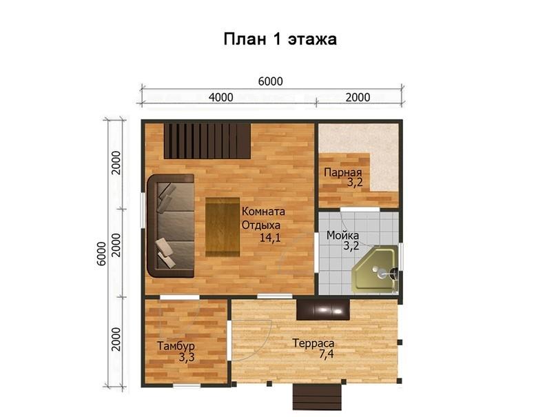 Баня 6х6 планировка фото